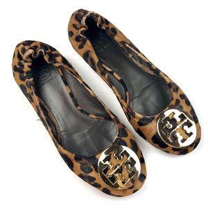 Tory Burch Fur Reva Leopard Print Flats 9